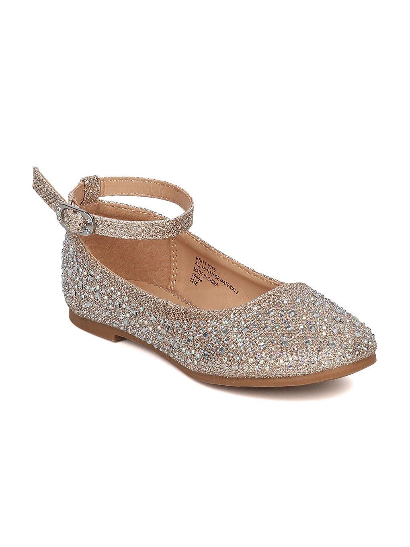 Little Angel Girls Glitter Ballet Flat GH29 by Rose Gold Big Kid 4