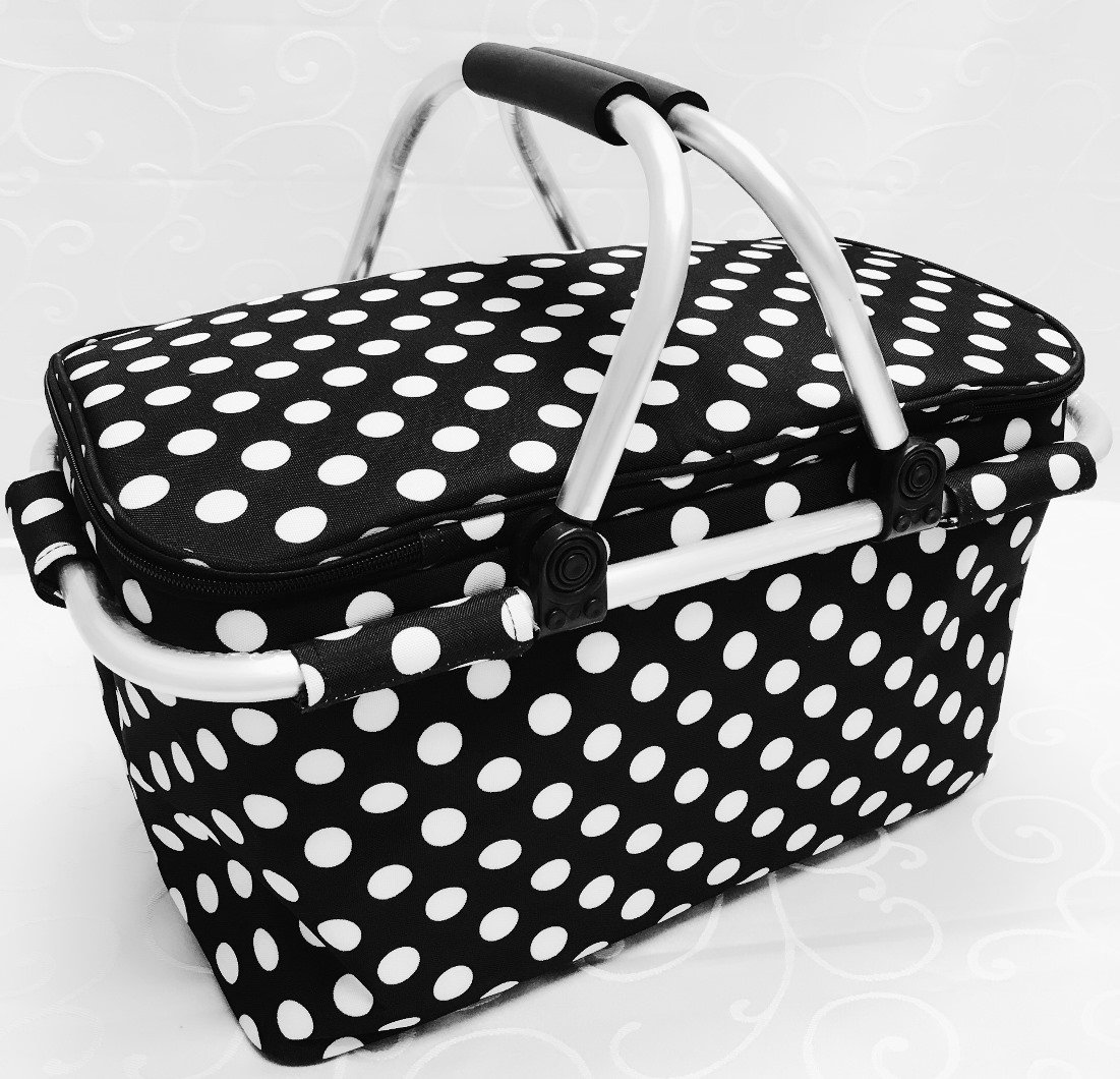 HomeShapes Foldable and Insulated Picnic//Market//Cooler Basket with Aluminum Frame Black with White Polka Dots