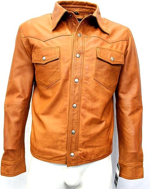 Boots and Leather Mann tan weich echtes Lederhemd Jacke