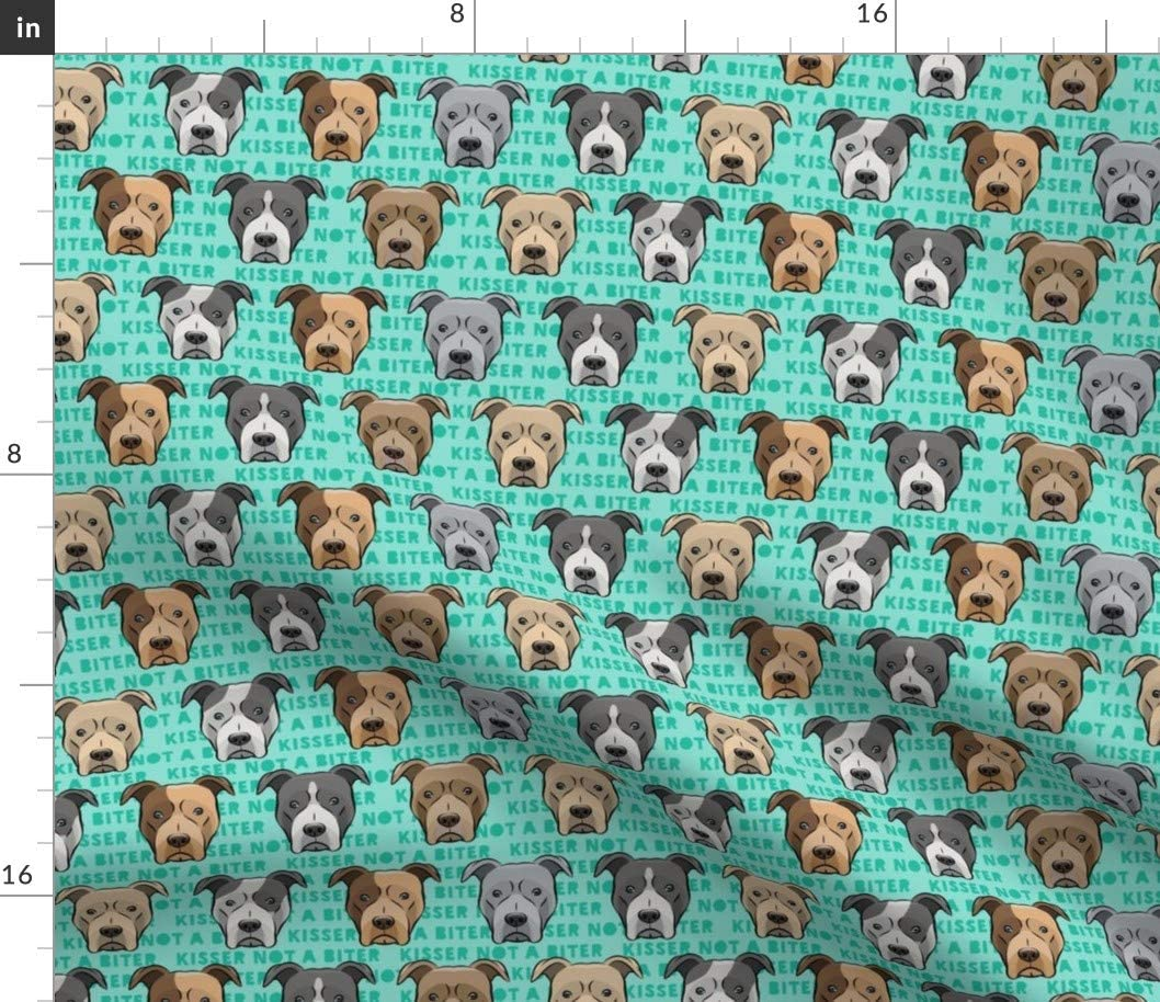 Spoonflower Fabric - Green Bull Head Dog Face Pitbull Little Arrow Cute Pitty Red Grey Printed on Petal Signature Cotton Fabric by The Yard - Sewing Quilting Apparel Crafts Decor