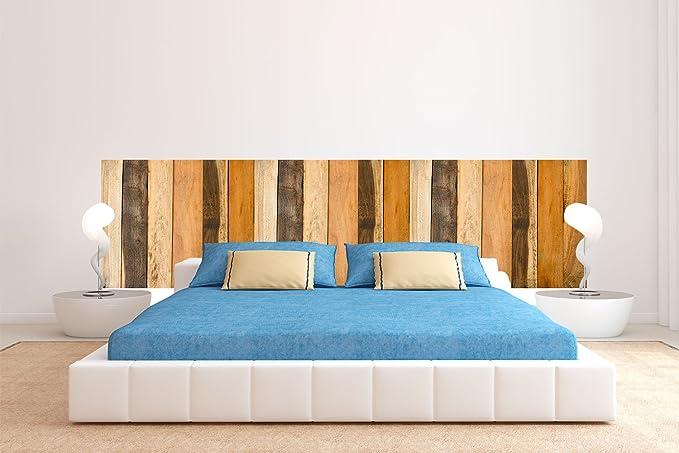 Cabecero Cama PVC Textura Antiguo Recto Vertical Madera Multicolor 150x60cm | Disponible en Varias Medidas | Cabecero Ligero, Elegante, Resistente y ...