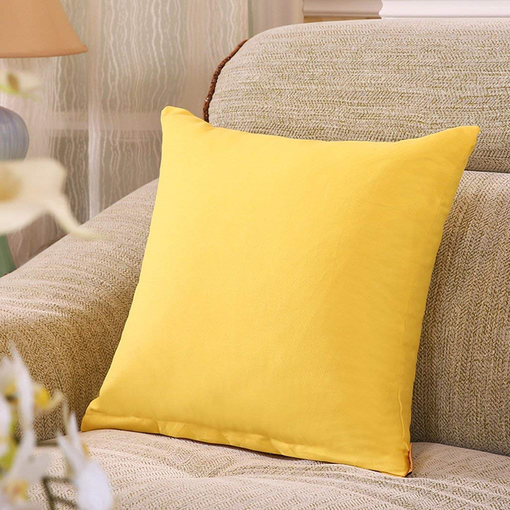 Polymer Soft Pillow 50X50Cm Square Modern Creative Sofa Cushions Office Bed Bed Cushion Yellow XXPP (Size : 45x45CM)