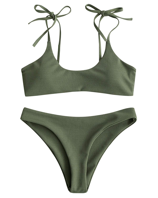 ZAFUL Bralette Bikini-Set mit Spaghetti-Tr/äger gerippte Krawatte Bikinis Set
