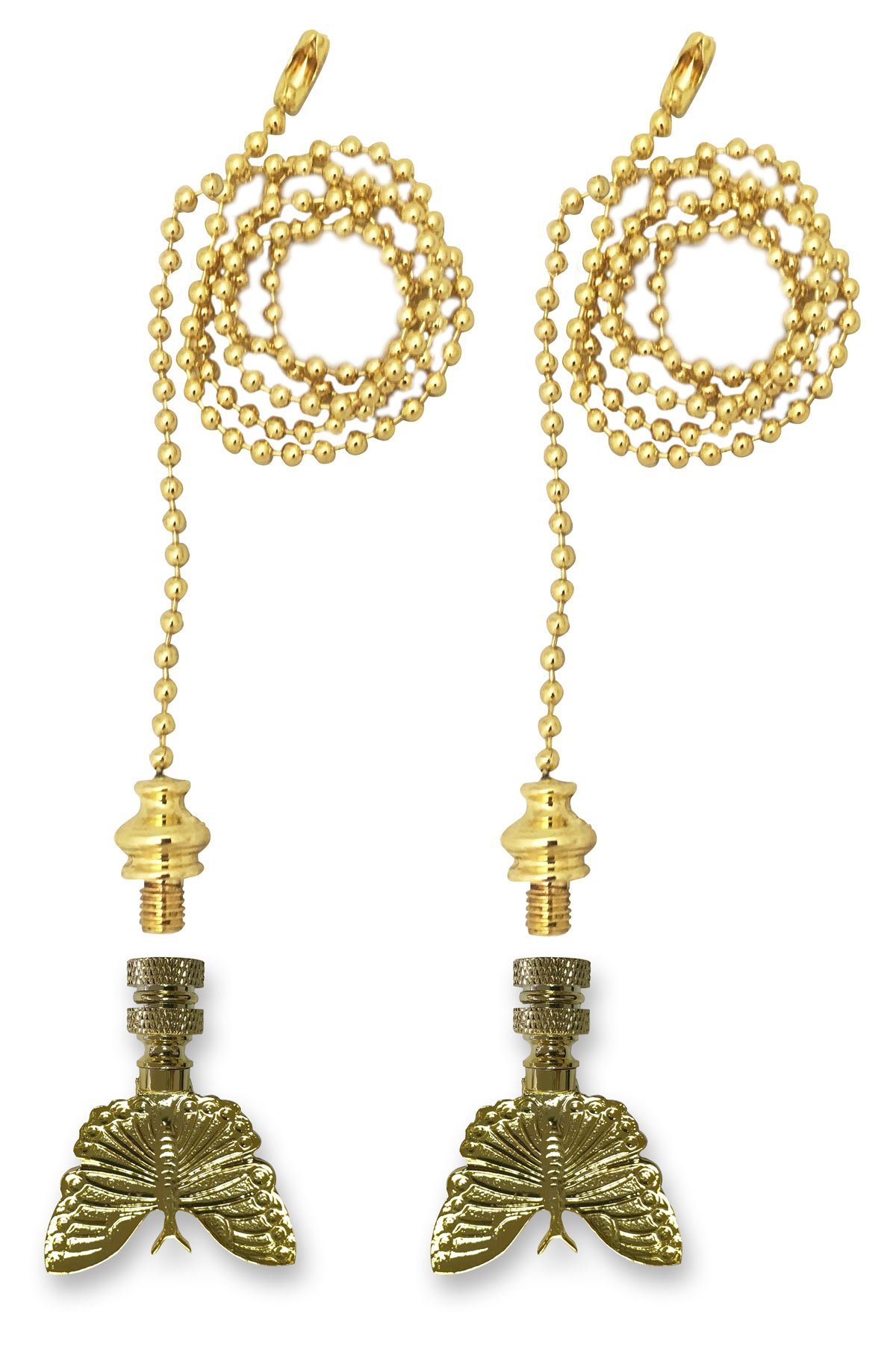 Royal Designs Fan Pull Chain with Monarch Butterfly Finial - Polished Brass - Set of 2