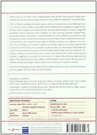 Verdi - I Vespri Siciliani - Muti [Italia] [DVD]: Amazon.es: Teatro Alla Scala Milano, Chris Merritt, Riccardo Muti, Cheryl Studer, Giuseppe Verdi, Giorgio Zancanaro, Teatro Alla Scala Milano, Chris Merritt: Cine y