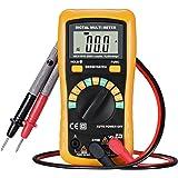 TopElek Multimètre Numérique Portable Digital Multitesteur de Haute Précision, Détecteur de Gamme Automatique Compteur de Poche Voltage, Compteur DMM pour Bricolage Courant DC AC Ampèremètre Voltmètre Ohmmètre - Jaune