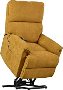 Merax Electric Recliner Chair Lazy Boy Sofa for Elderly, Power Lift Massage and Heat Function for Office or Living Room, Yellow