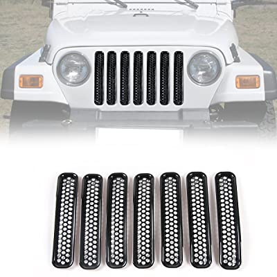RT-TCZ Black Honeycomb Mesh Front Grill Inserts Kit for 1997-2006 Jeep Wrangler TJ & Unlimited - (7PCS): Automotive