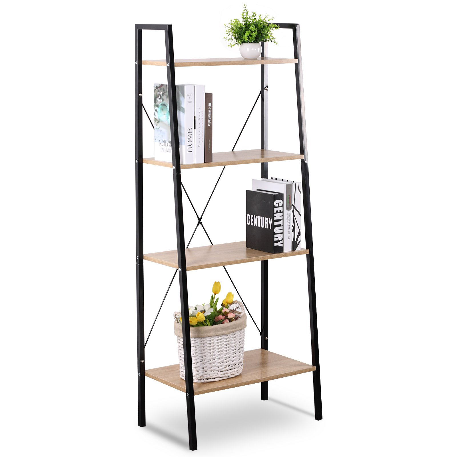 WOLTU 4 shelf Shelving Unit Wood Heavy Duty Metal Shelving Cabinet Storage System for Kitchen and Bathroom Home Use