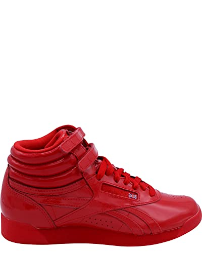 Reebok Womens Freestyle Hi Patent Sneakers,Red,7.5