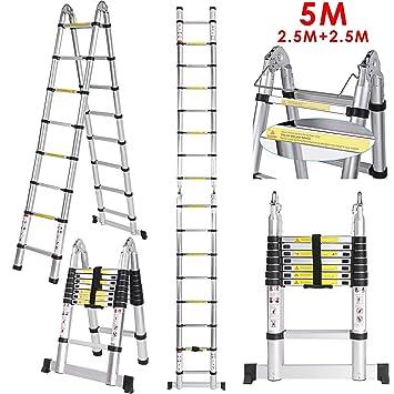 Alu Klappleiter Teleskopleiter Ausziehleiter aus hochwertigem Alu Teleskop-Design Mehrzweckleiter 15 Sprossen 4,4m 150 kg Belastbarkeit