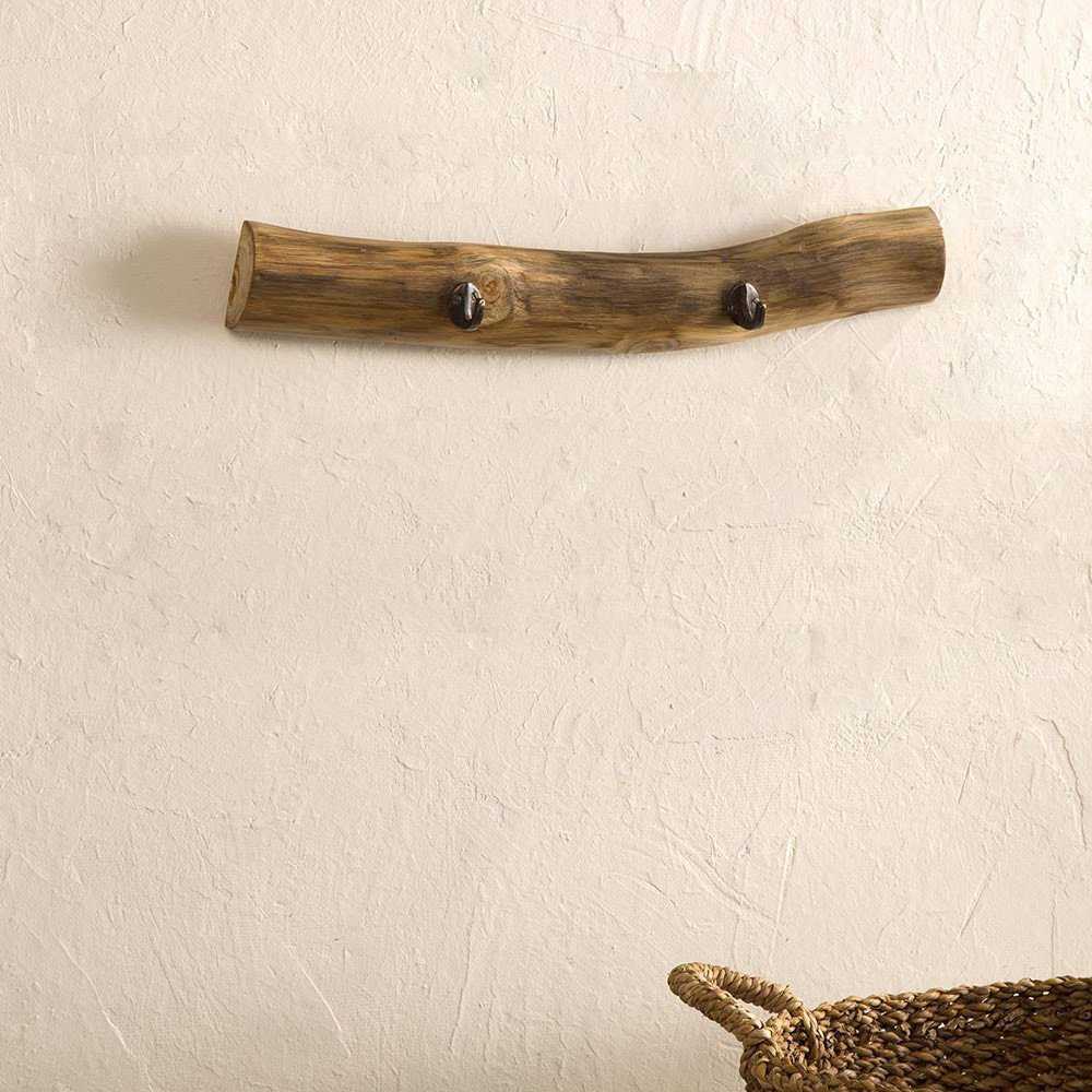 Vivaterra Recycled Teak Wood Bar Hooks - Two Hooks - 20 L x 4 W x 3 H