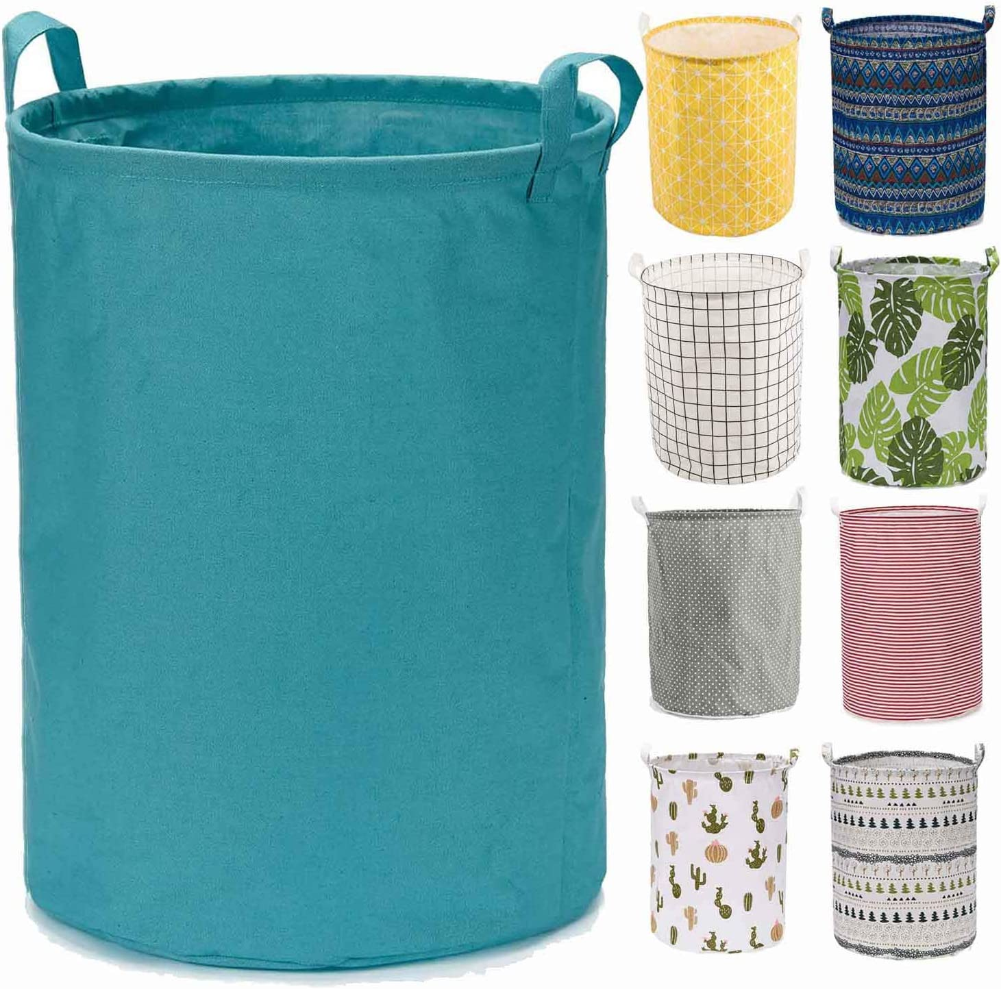 "Every Deco Cylinder Round Single Fabric Plastic Frame Laundry Basket Hamper Storage Bin Organization Collapsible Foldable Toys Clothes - 19.7"" H/Large - Teal"