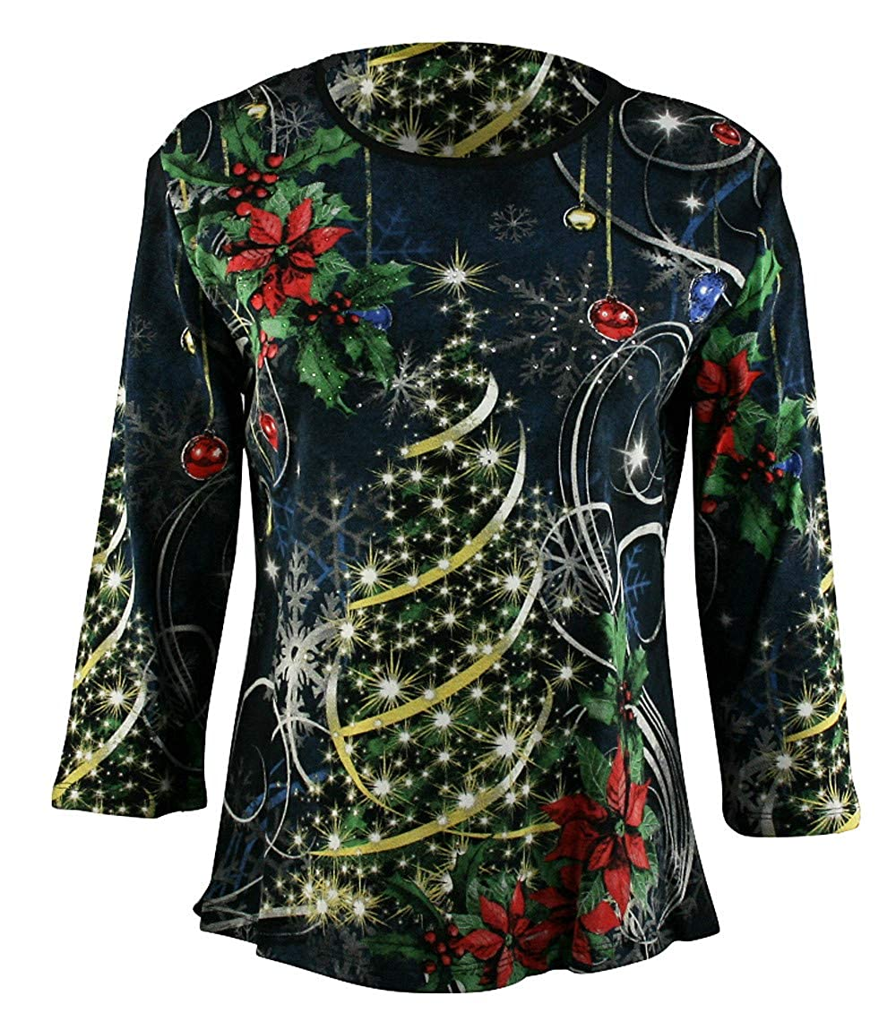 Jess /& Jane Magical Christmas Cotton Top 3//4 Sleeve Scoop Neck Rhinestone Accents