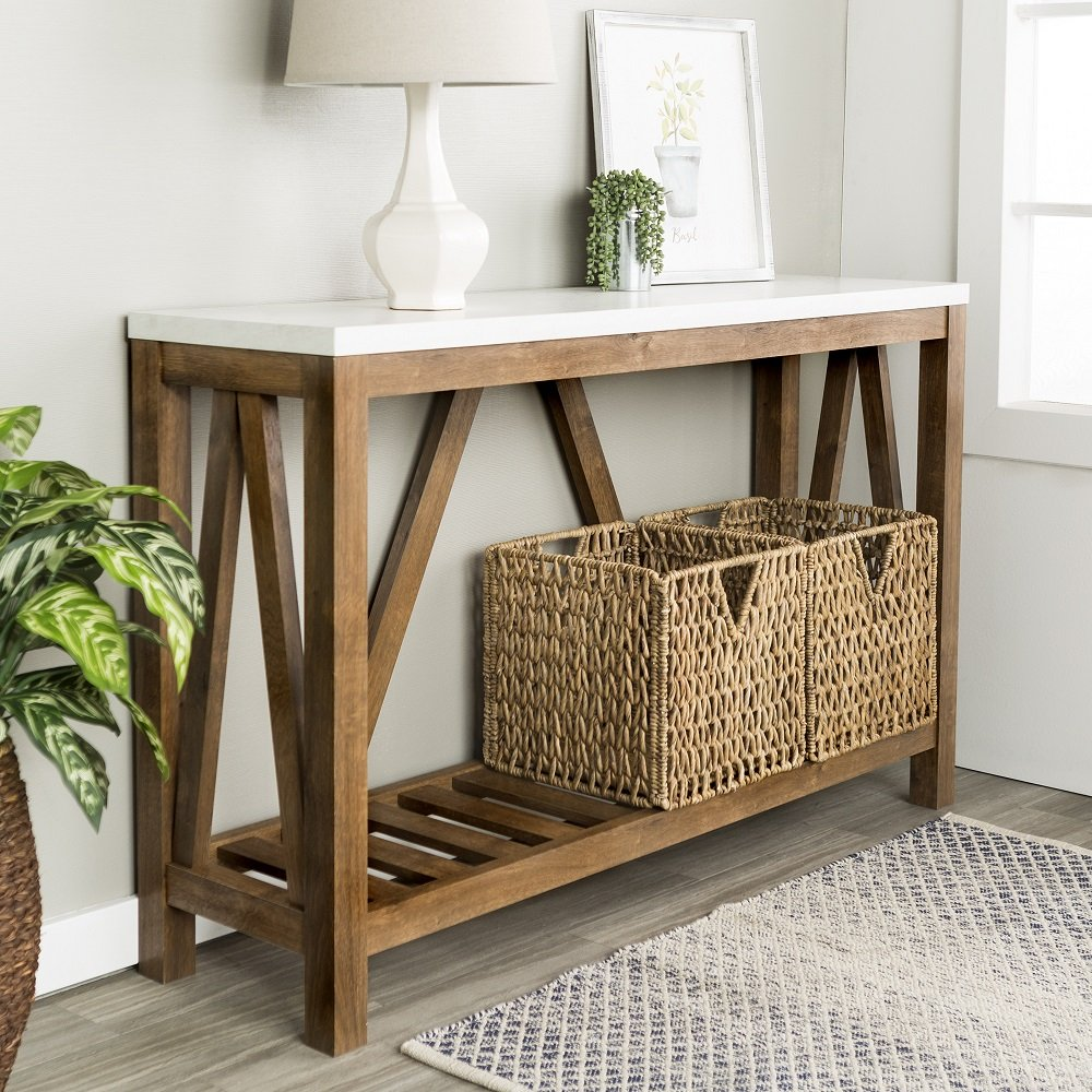 New 52 Inch Wide A-Frame Rustic Entry Table with Marble Color Top and Walnut Finish