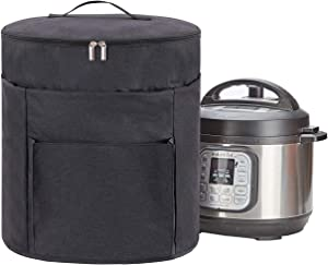 KGMCARE 2 Compartments Pressure Cooker Cover Compatible with Ninja Foodi 8 Quart Pressure Cooker, Dust Cover with Front Pocket for Accessories (Dark Gray)