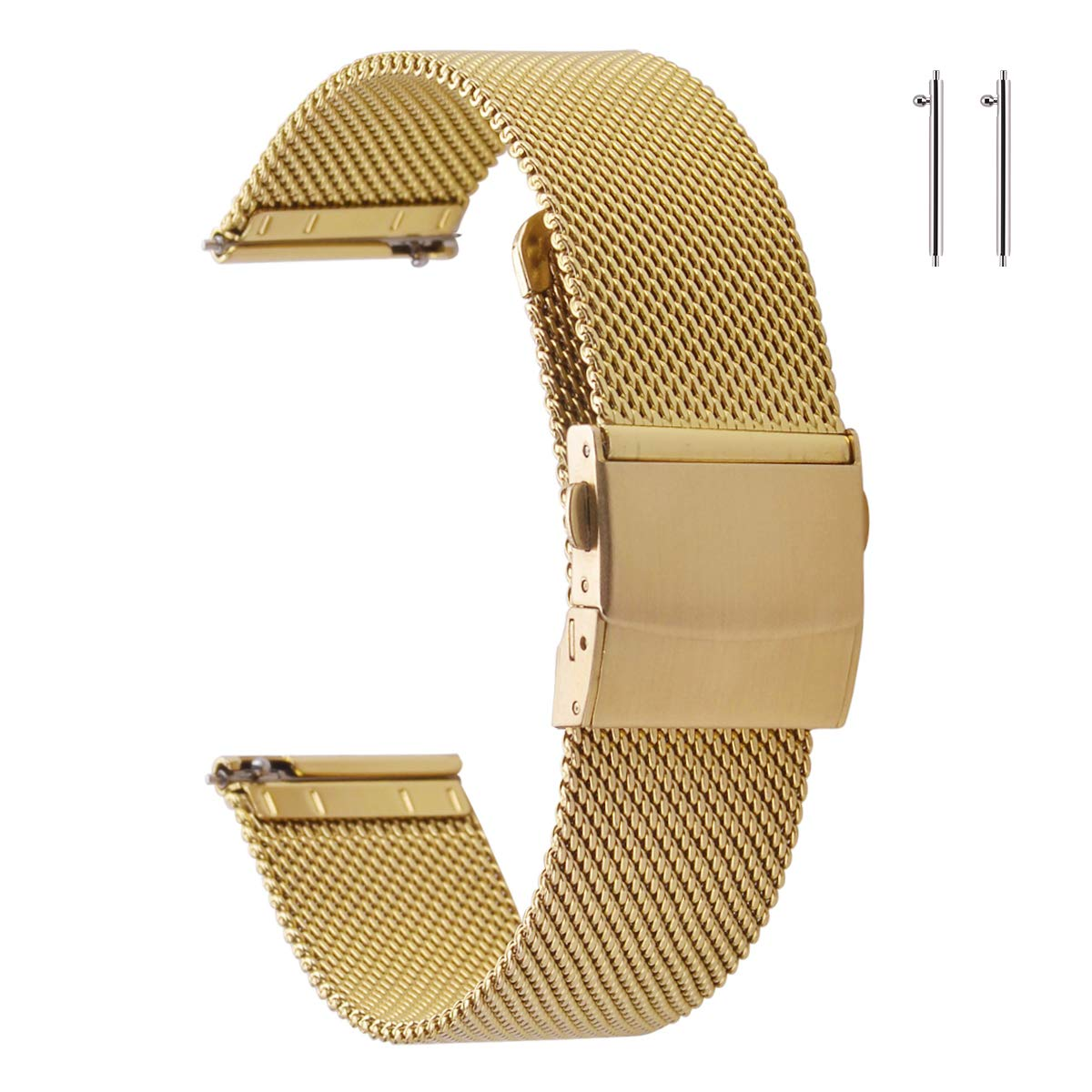 EACHE Stainless Steel Mesh Watch Band for Men &Women Quick Release Adjustable Mesh Watch Straps 14mm 16mm 18mm 20mm 22mm