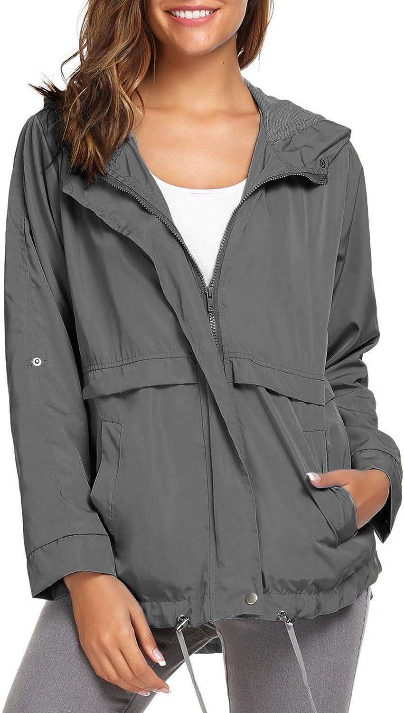 Beyove Women Waterproof Rain Jacket Hoodie Windproof Outdoor Coat Venture Windbreaker