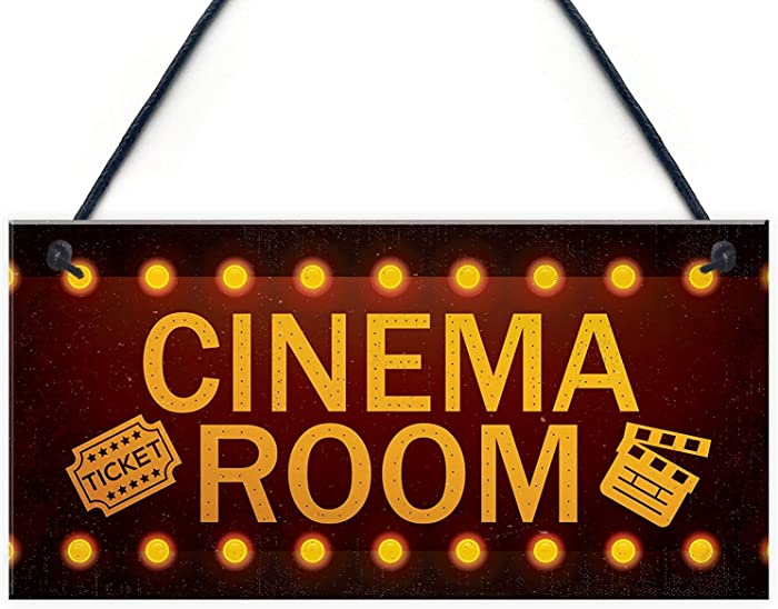 """Meijiafei Cinema Room Home Theatre Gift for Mum Dad Man Cave Den Family Room Wall Plaque Gift 10"""" X 5"""""""