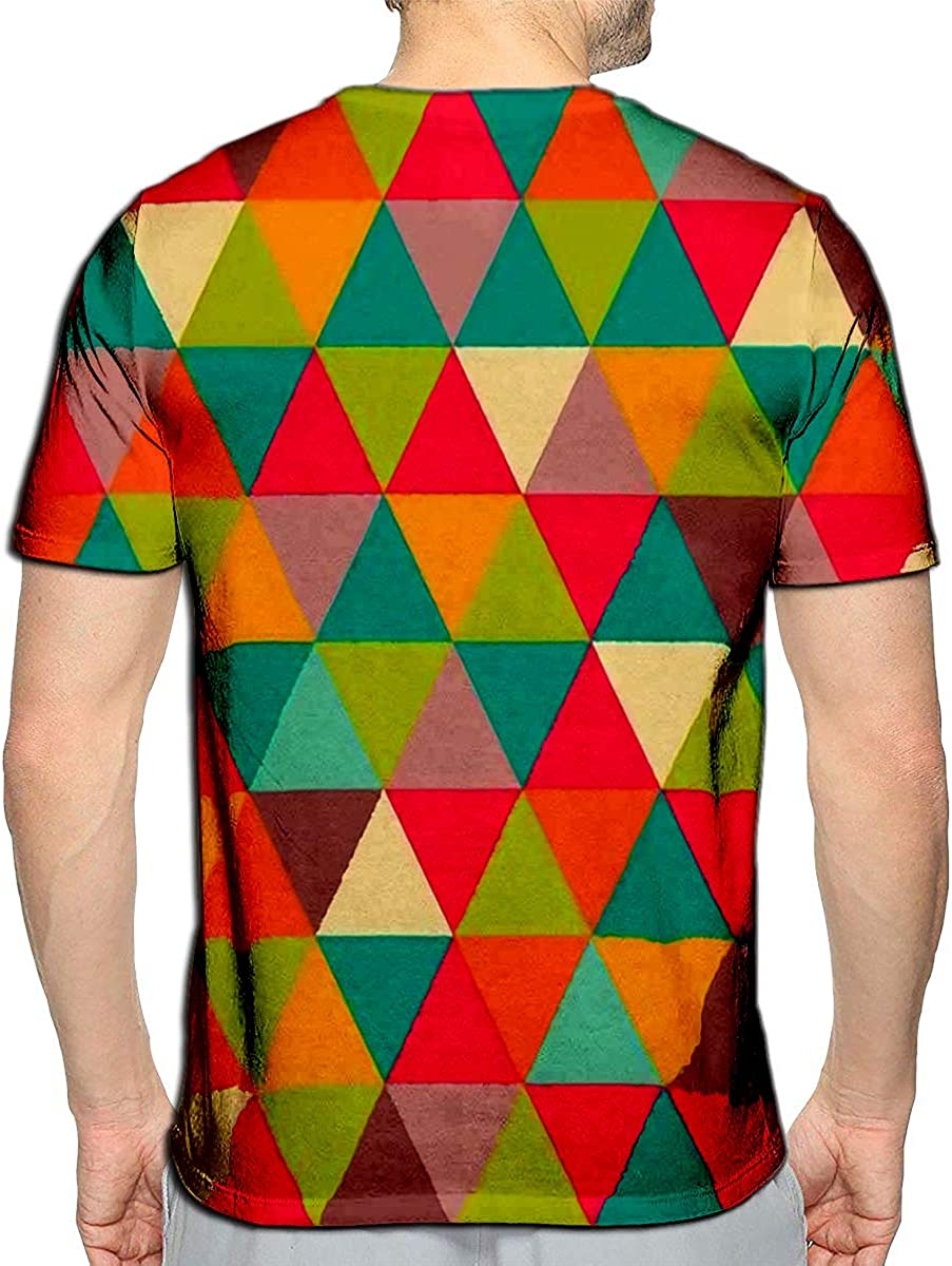 Randell 3D Printed T-Shirts Abstract Geometric Triangle Short Sleeve Tops Tees