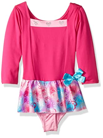 238af09f4c4 Amazon.com  Jojo Siwa By Danskin Girls  Big Rainbow Bows 3 4 Sleeve Dance  Dress  Clothing