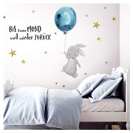 Little Deco Wandtattoo Bis zum Mond & Hase mit Luftballon I 174 x 102 cm (BxH) I Kinderzimmer Babyzimmer Aufkleber Sticker Wa