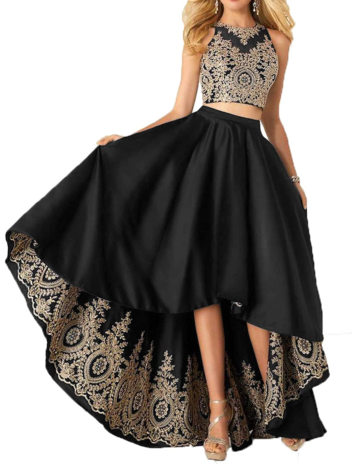 Black Udresses Two Piece Homecoming Satin Dress Aline Applique Lace Formal Prom Gowns
