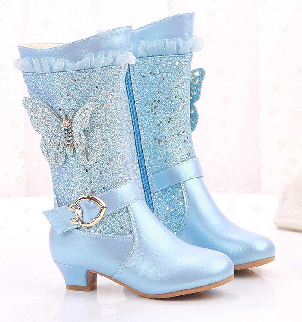 1.5 M US, Blue Girls Zip Tall Princess Boots Winter High Boot Outdoor Snow Warm Glitter Weather Boot