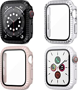 HAPAW [4 Pack] Tempered Glass Screen Protector Case Compatible with Apple Watch Series 6 / SE / Series 5 / Series 4 44mm, Touch-Sensitive Hard PC Full Cover Bumper Compatible with iWatch 44mm