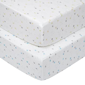 Delightful TILLYOU Printed Crib Sheets Set For Baby Bed, 2 Pack   100% Woven Cotton