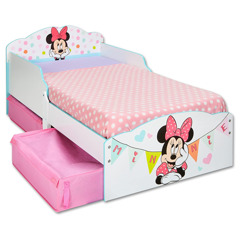 TW24 Einzelbett - Bett - Kinderbett Disney Minnie Weißszlig; 140cm x 70cm - Holz mit Schubladen