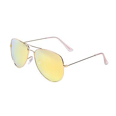 QIXU Polarizadas Gafas de Sol Aviador Amarillo para Hombre y ...