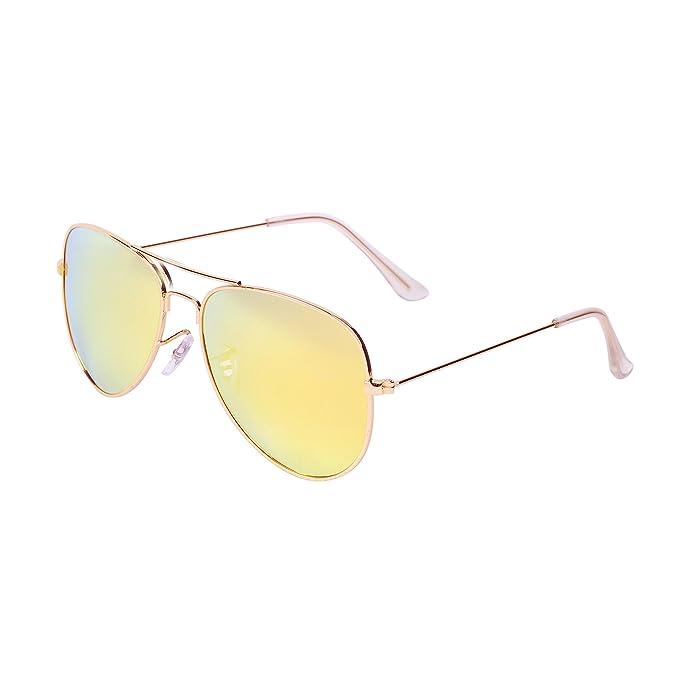 QIXU Polarizadas Gafas de Sol Aviador Amarillo para Hombre y Mujer Efecto Espejo Lente Antirreflejante UV400 con el Caso: Amazon.es: Ropa y accesorios