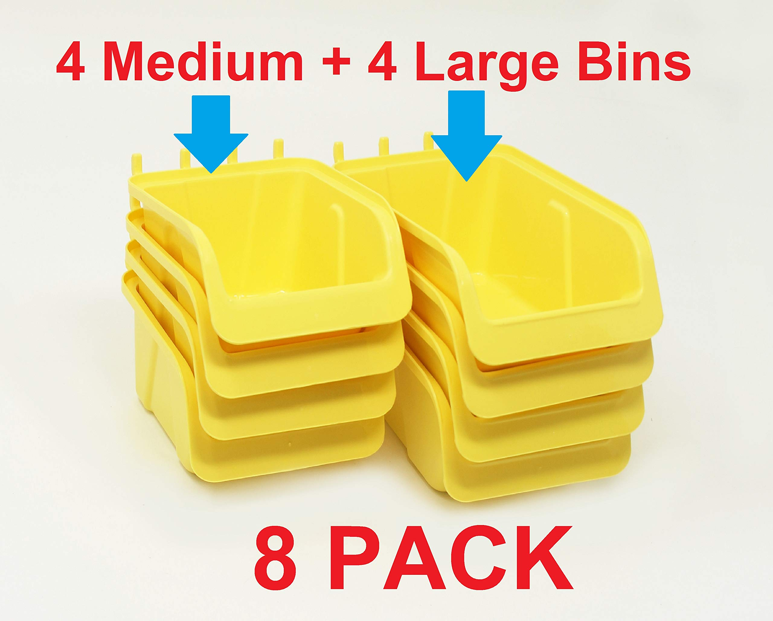 8 Pack Pegboard Bin Kit Parts Storage Craft Organizer Tool Workbench Accessories 4 Large and 4 Medium Bins