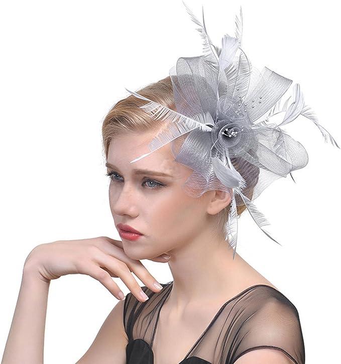 Damen Fascinator Haarreif Haarschmuck mit Federn Hochzeit Haarclip Kopfbedeckung