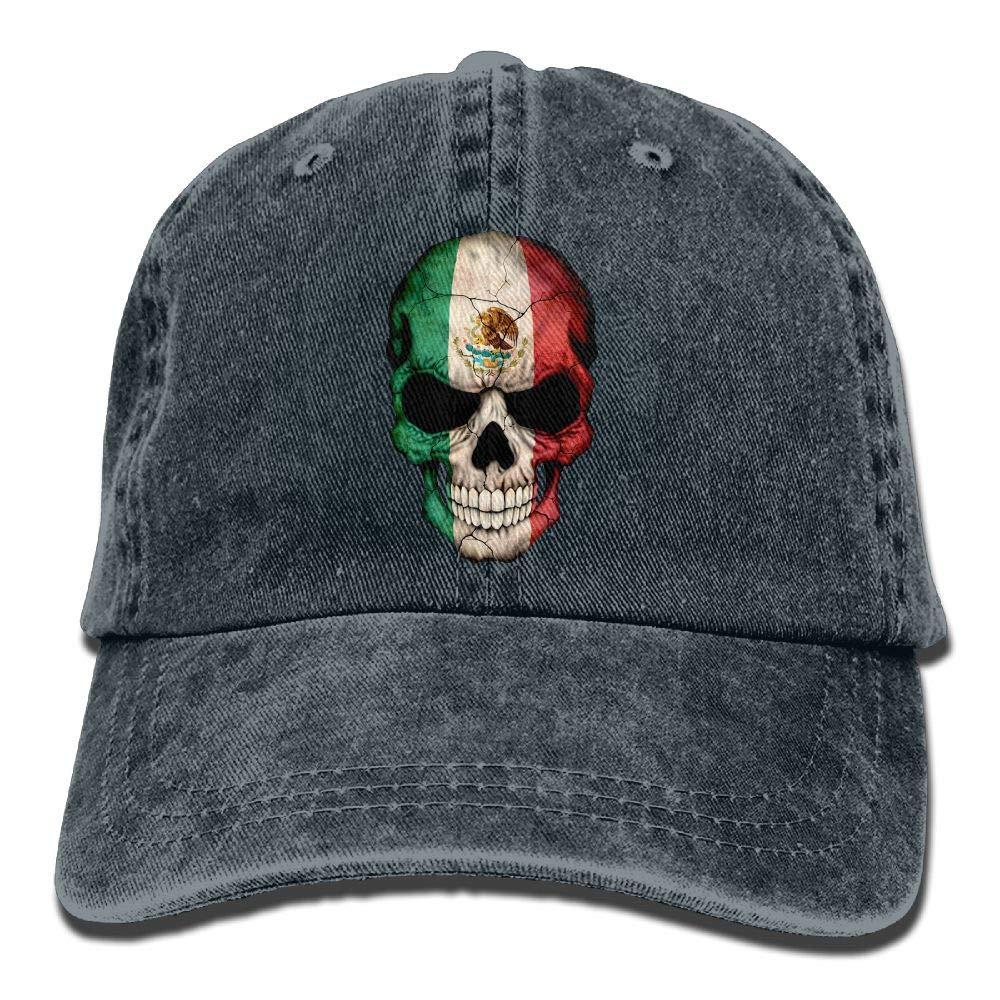 wuhgjkuo Mexican Flag Skull Vintage Adjustable Denim Hat Baseball Caps ForAdult