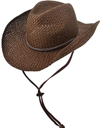 2a2537df5204c3 EPGM Straw Cowboy Hat Men/Women's Summer Cap w/PU Leather Band & Chin Strap  (Chocolate) at Amazon Men's Clothing store: