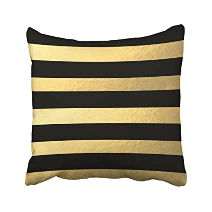 Suesoso Pillowcover 18u0026quot;x18u0026quot; Black And Gold Striped Pillow Throw  Pillow Cover Home Decorative