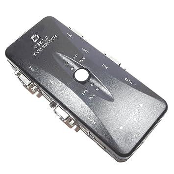italystore Switch KVM 4 Puertos USB Conmutador teclado ratón ...