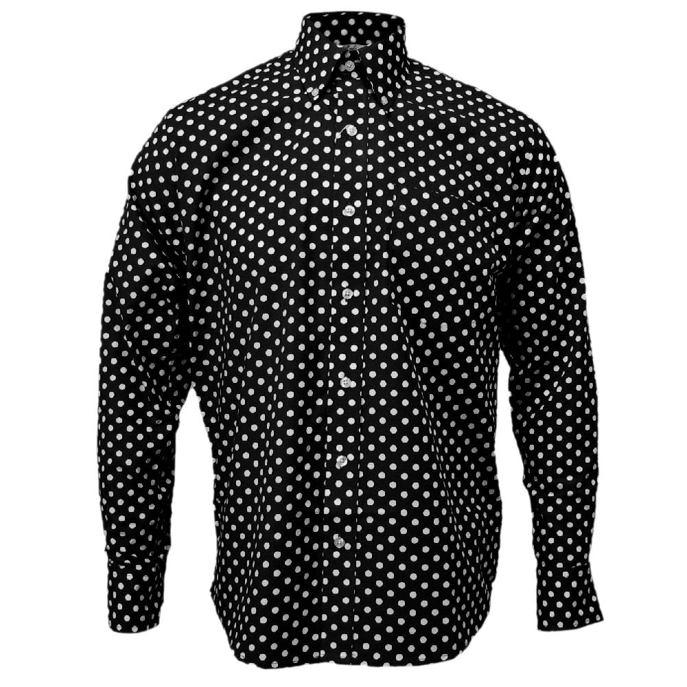 1960s – 70s Mens Shirts- Disco Shirts, Hippie Shirts Relco Mens Long Sleeve Polka Dot Shirt $41.95 AT vintagedancer.com