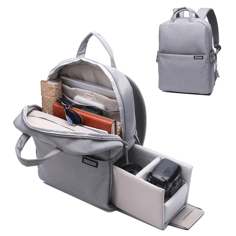 Camera Backpack DSLR/SLR Camera Bag Multifunction Travel Outdoor Waterproof Tablet Laptop Bag for Sony Canon Nikon - Silver Grey