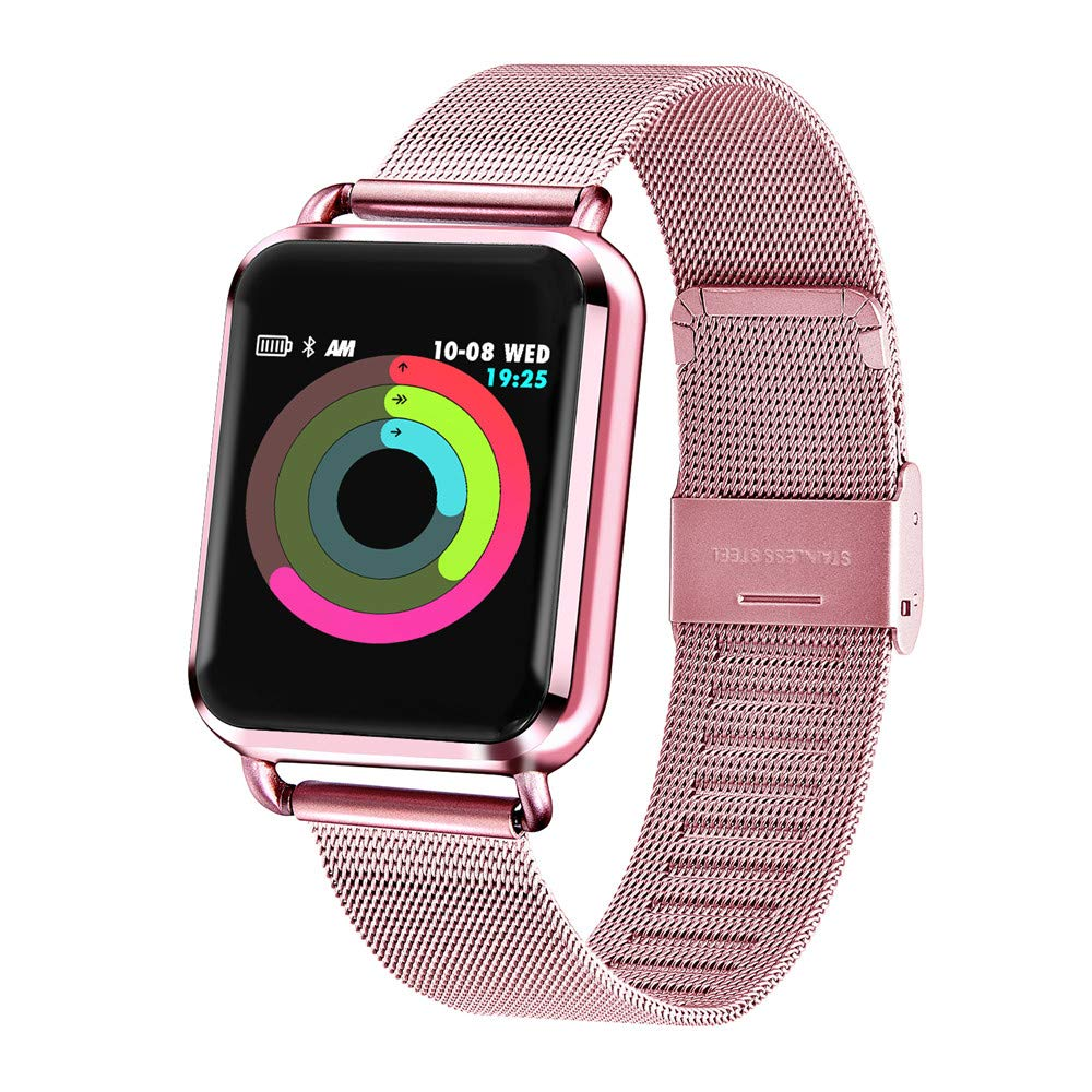 Vacio Smart Watch,1.3 Inch Tempered Glass Screen Full Steel Belt GPS Bluetooth Watch with Heart Rate Sleeping Monitor Pedometer Fashion Sports Band Fits iPhone Samsung (Pink)