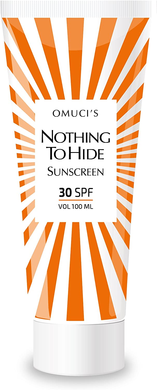 Protector solar respetuoso con el medio ambiente Nothing To Hide de Omuci's. Apto para veganos, ingredientes naturales. Protección UVA + UVB. (30 SPF, 100ml)