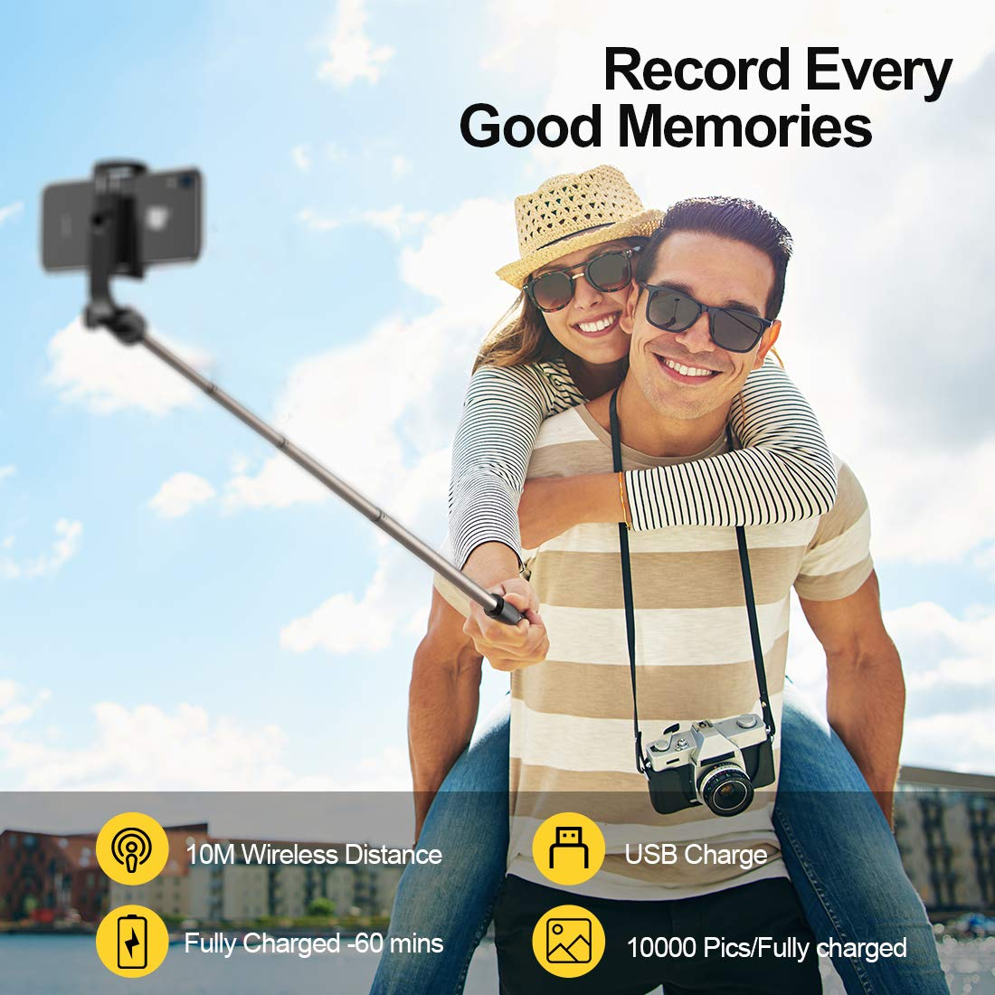Humixx Selfie Stick, Buletooth 4-in-1 Extendable Selfie Stick Tripod 360° Rotation, Rechargeable Wireless Remote Shutter Compatible with iPhone XR/XS Max, Samsung S10+, Huawei P30, Go Pro and Cameras by Humixx (Image #6)