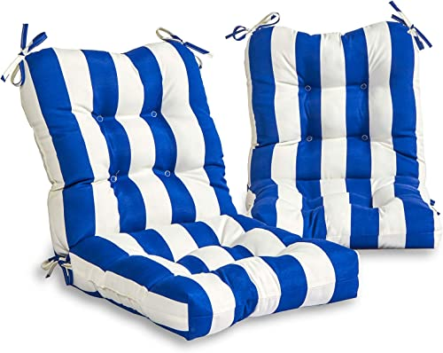 South Pine Porch AM6815S2-CABANA-BLUE Outdoor Seat/Back Chair Cushion