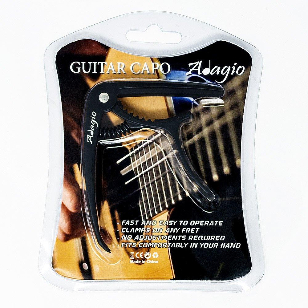 RRP 10.99 Capo Pro Deluxe pour guitares acoustiques et /électriques avec lib/ération rapide et extracteur de pince en argent PVC Adagio Noir