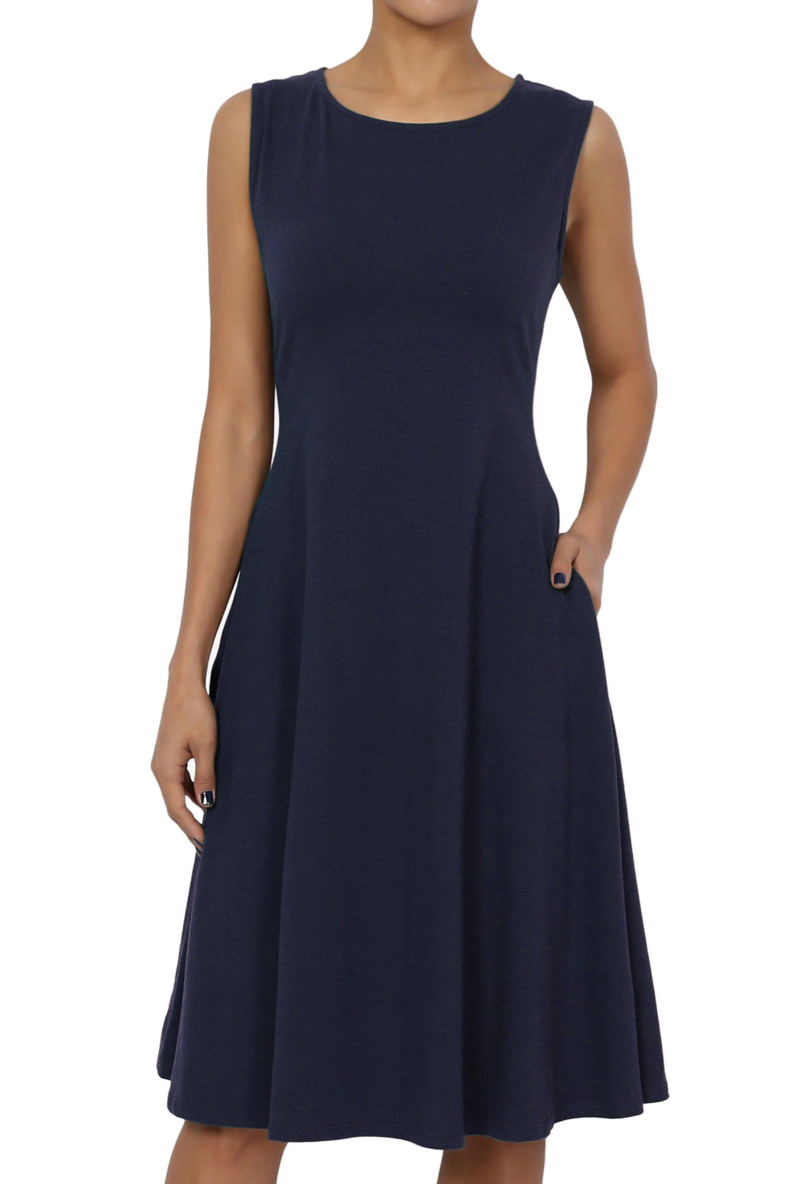 TheMogan Women's Sleeveless Pocket Stretch Cotton Fit & Flare Dress Navy XL