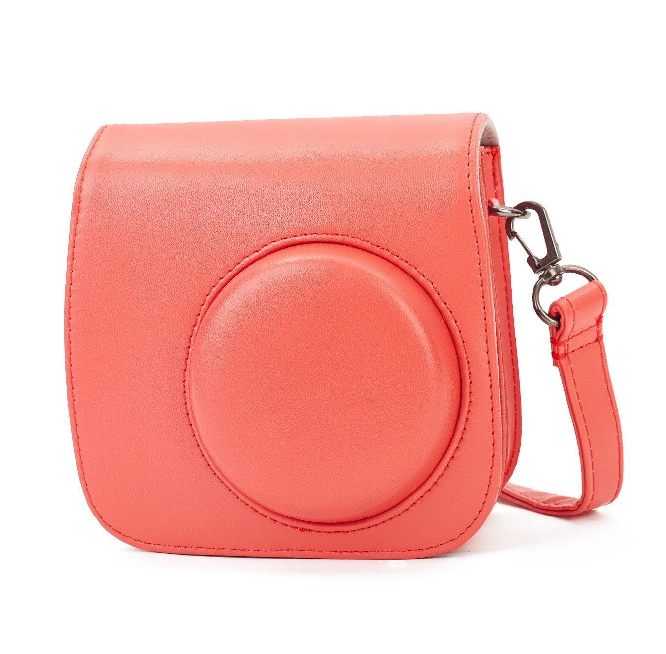 Flamingo Rosa Bolsa de Transporte Fabricada en Cuero Leebotree Funda Compatible con Instax Mini 9 // Mini 8 8+ C/ámara Instant/ánea Dispone de Una Correa de Proteger y Bolsillo