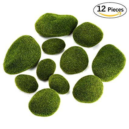 Aipaide 12 Pcs Green Moss Balls Assorted Sizes Moss Covered Rocks