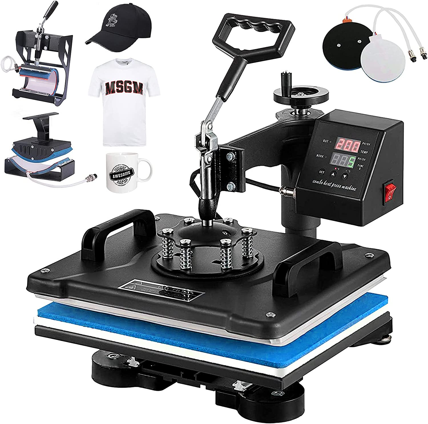 SURPCOS Heat Press Machine for T-Shirts 5 in 1